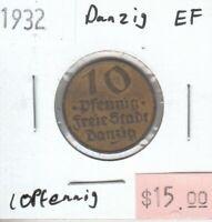 Danzig 10 Pfennig 1932 XF Extra Fine