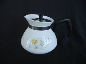 vintage retro corning ware floral bouquet teapot 6 cup