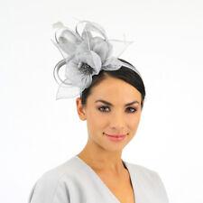 Ladies JENDI Silver Grey Formal Spring Racing Fascinator Headband 4 Oaks Day