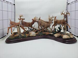 RARE! Danbury Mint RUNNING BUCKS Whitetail Deer Sculpture Curtis Christensen L64