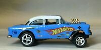 "Hot Wheels Beautiful Custom Drag Gasser ""HW Racing"" 55 Chevy BelAir Real Riders"
