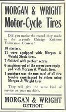 1909 Morgan & Wright Motorcycle Tires Ad/Chicago Kokomo Endurance Contest