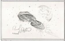 Randy Asplund Sci-Fi Spaceship Original Sketch 3x5 Index Card Signed Autographed