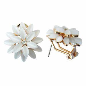 Magnolia Opal Flower 18K GP Rhinestone Crystal Ear-Nail Buckle Earrings E1599