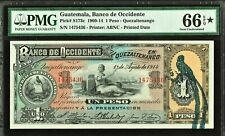 Guatemala Banco de Occidente One Peso 1914 Pick-S173c GEM UNC PMG 66 EPQ / STAR