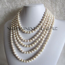 "100"" 8-10mm White Freshwater Pearl Necklace Natural Color Strand"