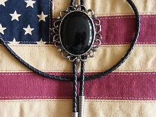 Nouveau grand exclusif pierre d'onyx Bolo Tie cordon cuir argent metal, western, goth