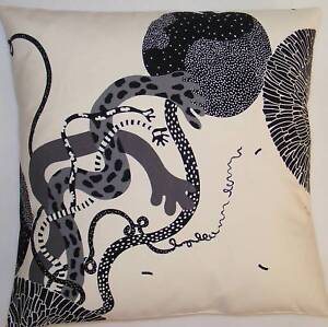 """LARGE 24"""" CUSHION COVERS TRENDY CREAM BLACK GREY COTTON MADE FROM IKEA FABRIC"""