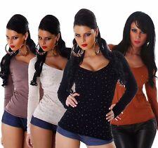 Sexy Jela London Pullover Feinstrick Pulli Sweater mit Strass, XS/S/M 34/36/38