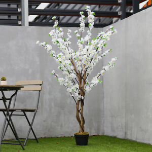 5FT Large Artificial Cherry Blossom Tree White Flower Spring Fake Plant Outdoor
