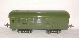 1925-1926 IVES #170 BUFFET CAR (Green). Wide/Standard Gauge Tinplate TRAIN