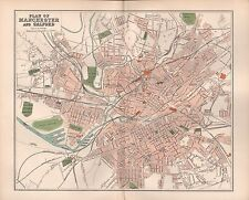 1895 ANTIQUE TOWN PLAN -PLAN OF MANCHESTER AND SALFORD