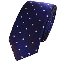 Handmade Navy Blue with Pink Polka dots Skinny Tie tie Neckties for Men