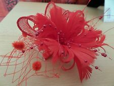 Lovely Red Sinamay Hair Fascinator with Beads, Feathers and Pom Poms SALE