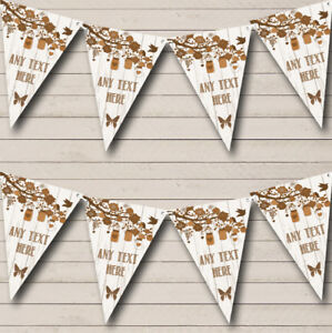 Shabby Chic Vintage Wood Brown Personalized Birthday Party Bunting Flag Banner