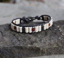 Men's White Turquoise and Hematite Beaded Black Leather Bracelet