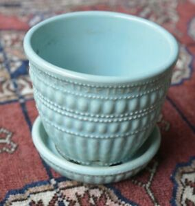 """Vintage Turquoise McCoy Pottery Planter Saucer Beaded Design 3 3/4"""" Tall"""