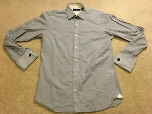 Ted Baker Archive Long Sleeve Dress Shirt Blue Cuff Grey Colour Men's Size 15