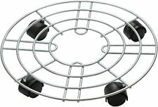 Plant Pot Round Wheels Mover Trolley Caddy Garden Plate Metal Stand Holder Decor