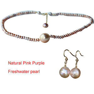 Gorgeous Natural Pink Purple Freshwater pearl necklace choker earrings TZ03