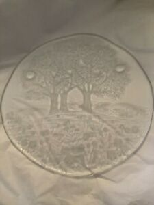 "EXC CONDITION Walther Glass Crystal Germany Trees & Flowers Serving Plate - 12""W"
