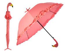 Fallen Fruits Pink Flamingo Umbrella With Ruffles Automatic Open & Freestanding