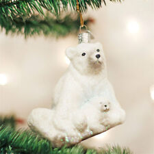 Polar Bear w/Cub Glass Ornament