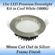 13 Watt Brushed Chrome Premium Dimmable LED Downlight Kit in Cool White Light