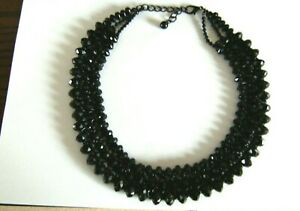 SUPERB - STATEMENT -  CHUNKY BLACK BEAD NECKLACE - GOTH STYLE