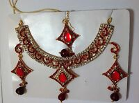 gold tone indian diamante bridal necklace set with choice of 7 colours ELEGANT