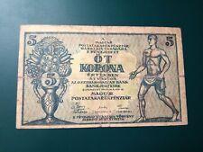 Hungary - 5 Korona 1919 - Banknote RARE