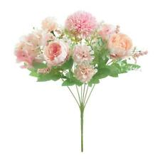 7-Head Artificial Fake Peony Silk Flower Leaf Wedding Party Home Light Pink
