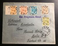 1919 Tallinn Estonia Registered Cover to Berlin Germany First Stamp Set 1-4 & 27