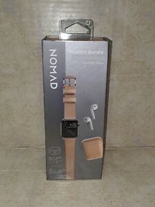Nomad Modern Bundle Leather Watch Strap Apple Watch 38mm 40mm AirPods Case NEW