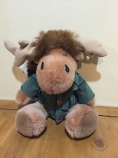 "Papel Gifts DAVY CROCKET MOOSE Plush Stuffed Animal With Coonskin Cap 16"""