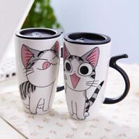 Cute Ceramic Cat Mugs with Lid and Creative Spoon Large Capacity 600 ML Gifts