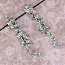 Trendy Green Peridot Silver Drop Dangle Earrings For Women S0203