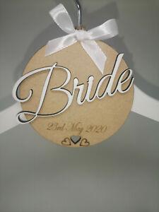 Personalised Wooden Engraved Bridal Wedding Dress Hanger Tag - Bridesmaid/Bride