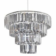 Lucia Pendant Lampshade Modern Chandelier Ceiling Light Shade Chrome & Clear New