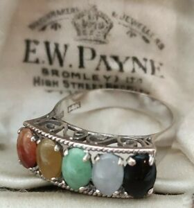 14ct White Gold Ring Multi Stone Cabochon Ring