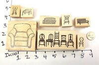 Wooden RUBBER STAMP Block Lot Furniture Chair Sofa Park Bench Relax Sit