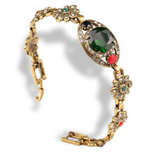 Turkish Hurrem Style Designs Gold Plated Emerald Women's Bracelet Jewelry HOT