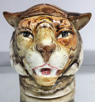 Antique Majolica Tiger Humidor Early European Pottery Tobbacciana German Austria