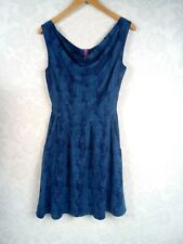 Ness of Scotland blue skater style dress stretch waist ladies size 8 pockets #u3