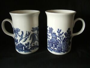 Pair of Vintage CHURCHILL Blue and White Willow Pattern Mugs VGC