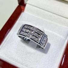 Men's Engagement Wedding Diamond Ring 3 Row Band 2.71 Ct Diamond 14K White Gold