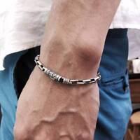 Mens Sterling Silver Vintage Tibetan Om Mani Padme Hum Mantra Link Bracelet 20cm