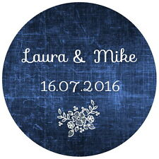 24 PERSONALISED, WEDDING FAVOUR STICKERS,GLOSSY  SEALS LABELS,BLUE SHABBY CHIC