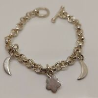Solid Sterling Silver 925 heavy chain bracelet star moon 7 inches Q96-23.