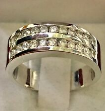 14k Solid White gold men's diamond band ring  1.10 ct double row